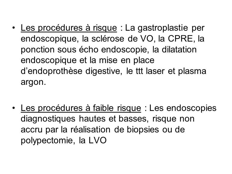 Les procédures à risque : La gastroplastie per endoscopique, la sclérose de VO, la CPRE, la ponction sous écho endoscopie, la dilatation endoscopique et la mise en place d'endoprothèse digestive, le ttt laser et plasma argon.