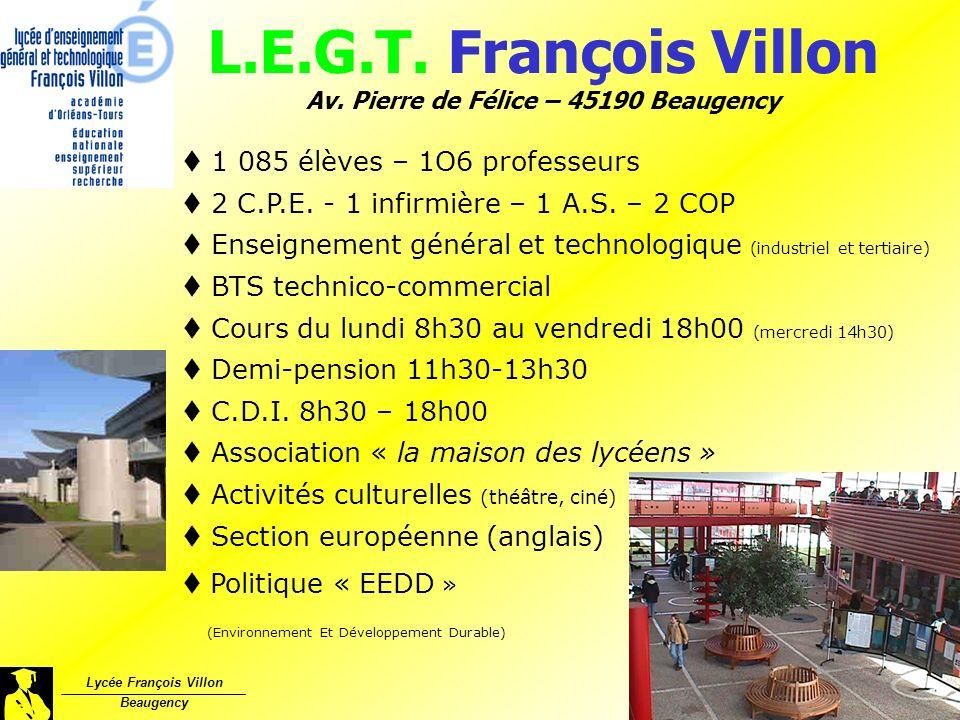 L.E.G.T. François Villon Av. Pierre de Félice – 45190 Beaugency