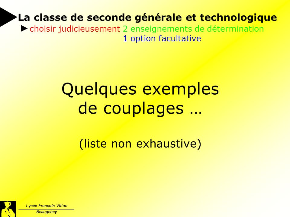 Quelques exemples de couplages … (liste non exhaustive)