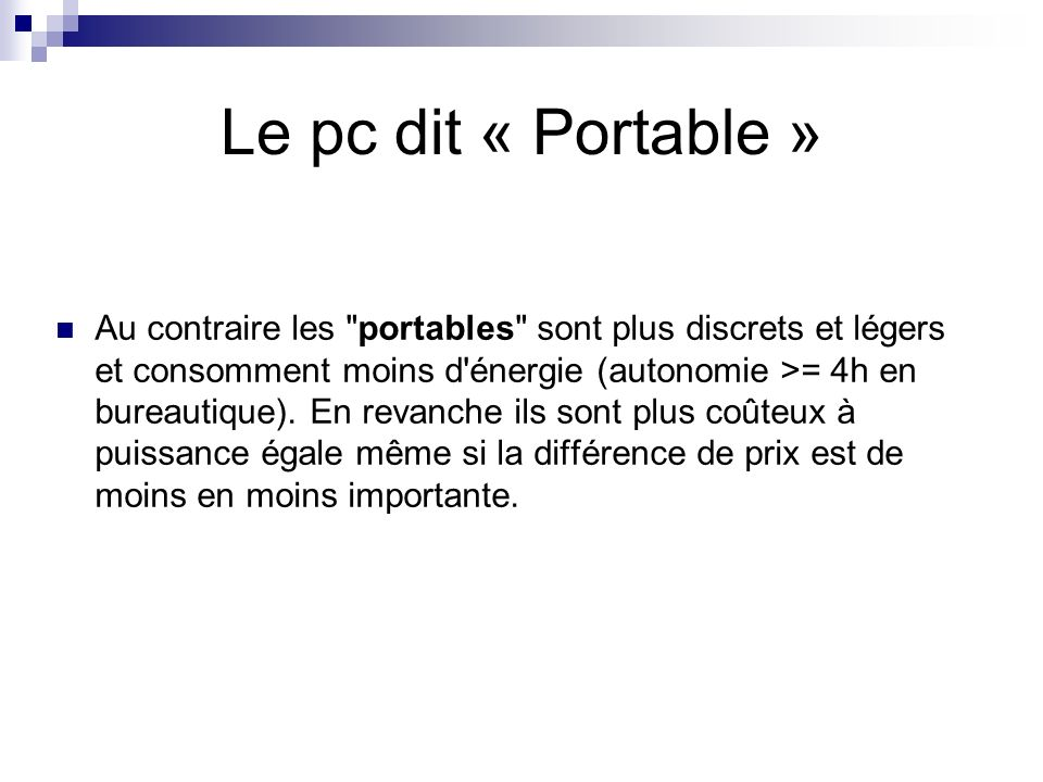 Le pc dit « Portable »
