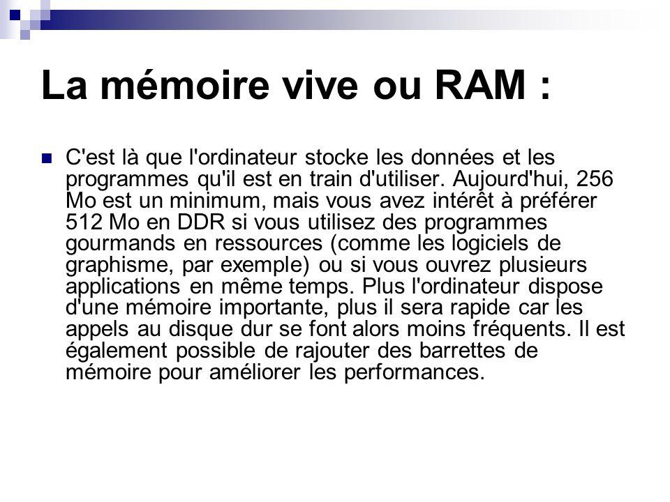 La mémoire vive ou RAM :