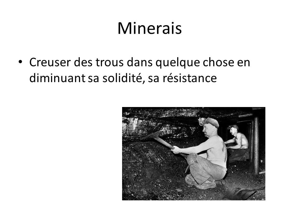 Minerais Creuser des trous dans quelque chose en diminuant sa solidité, sa résistance.
