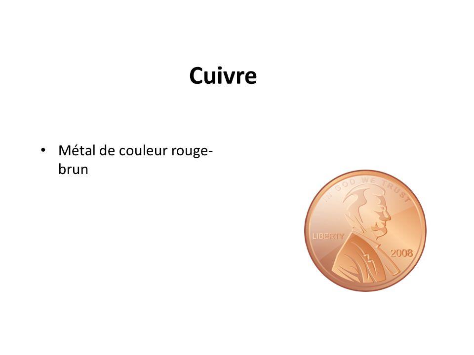 Cuivre Métal de couleur rouge-brun Un metal comme des cents