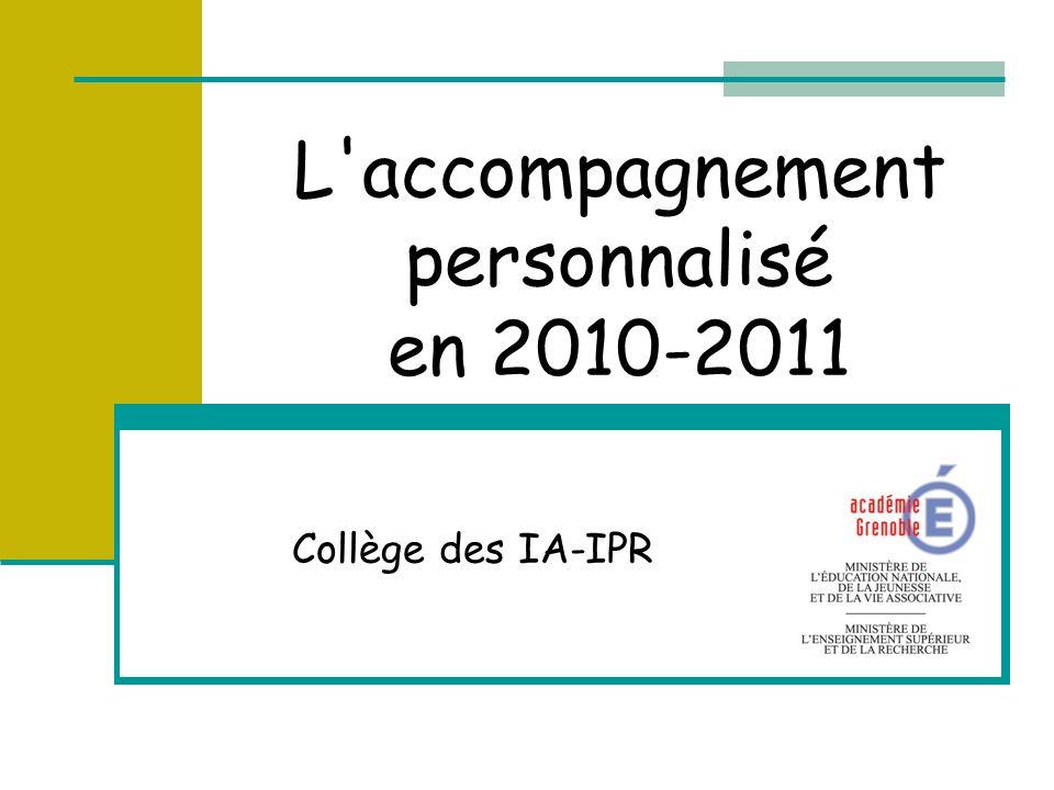 L accompagnement personnalisé en 2010-2011