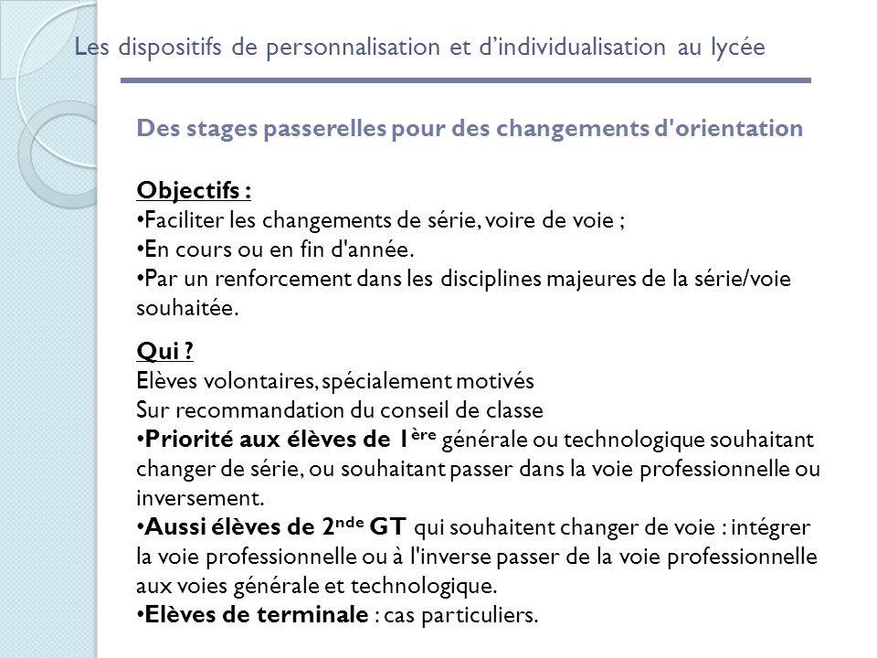 Les dispositifs de personnalisation et d'individualisation au lycée