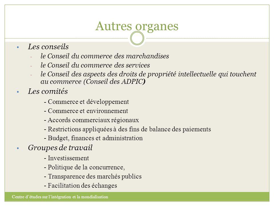 Autres organes Les conseils Les comités - Commerce et développement