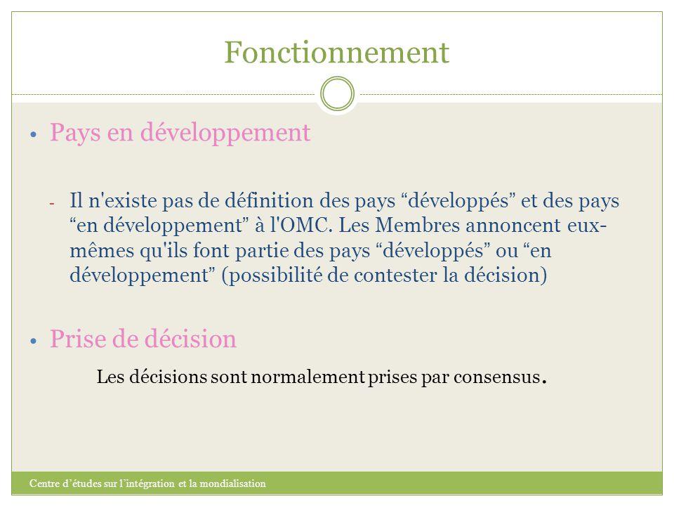 Fonctionnement Pays en développement Prise de décision