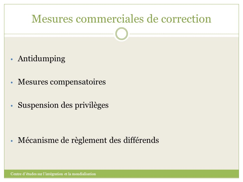 Mesures commerciales de correction