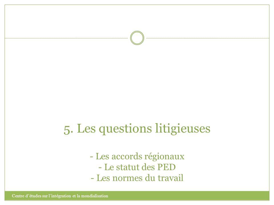 5. Les questions litigieuses - Les accords régionaux - Le statut des PED - Les normes du travail