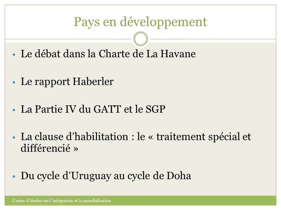 Pays en développement Le débat dans la Charte de La Havane