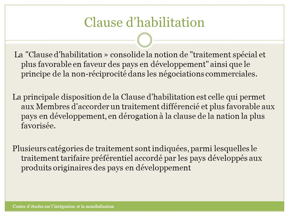 Clause d'habilitation