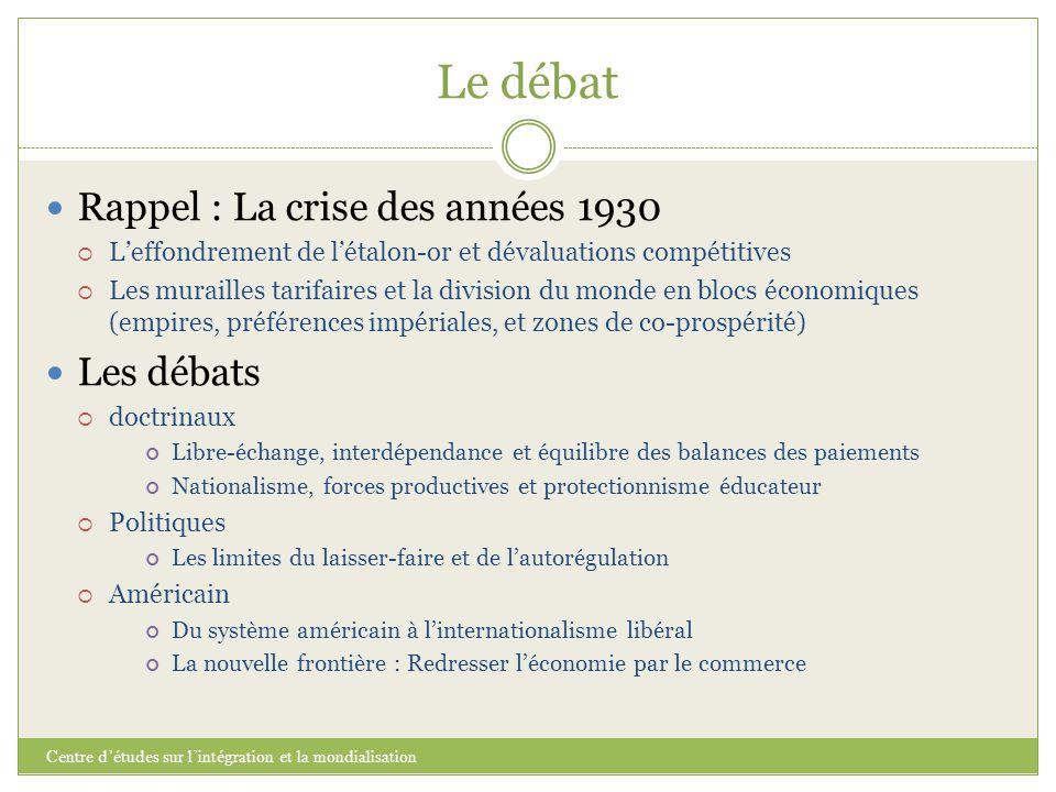 Le débat Rappel : La crise des années 1930 Les débats