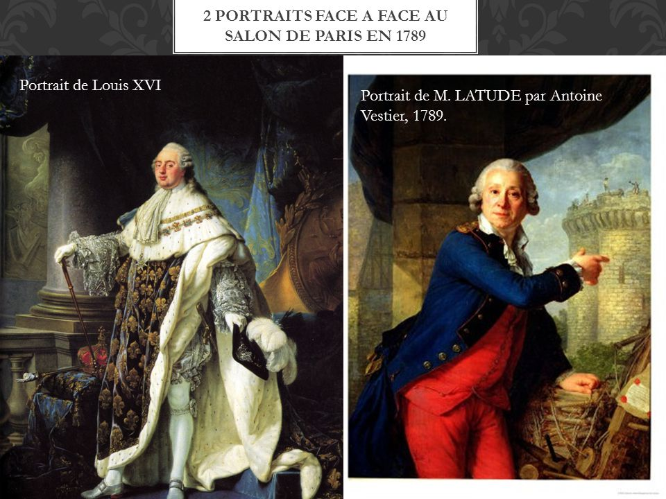 2 portraits face a face au salon de paris en 1789