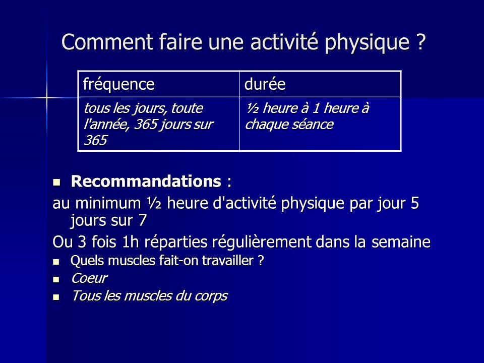 Comment faire une activité physique
