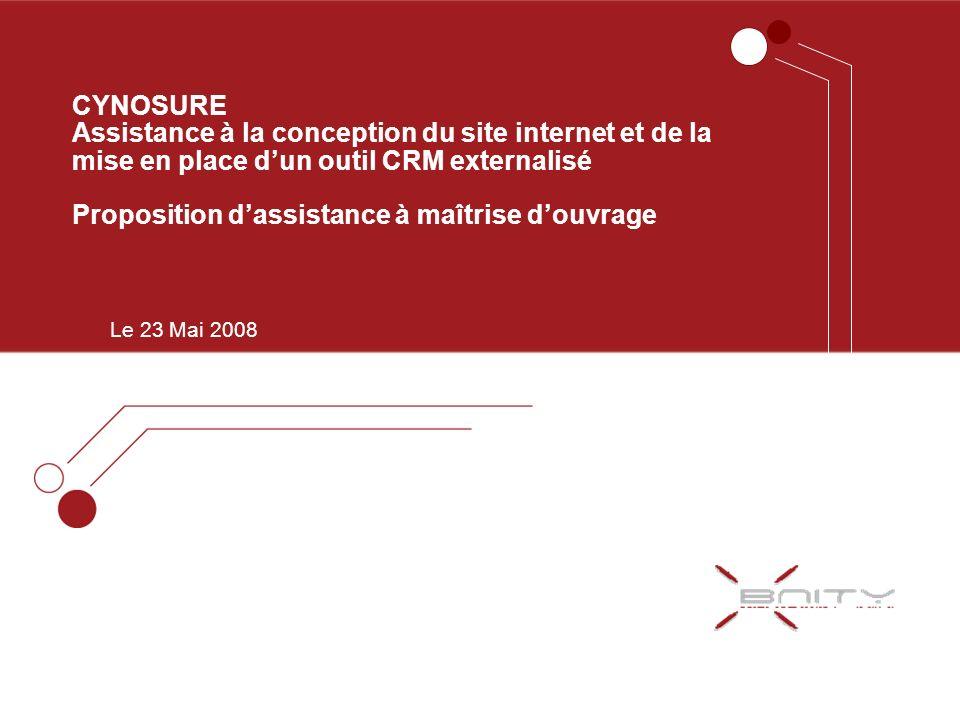 CYNOSURE Assistance à la conception du site internet et de la mise en place d'un outil CRM externalisé Proposition d'assistance à maîtrise d'ouvrage