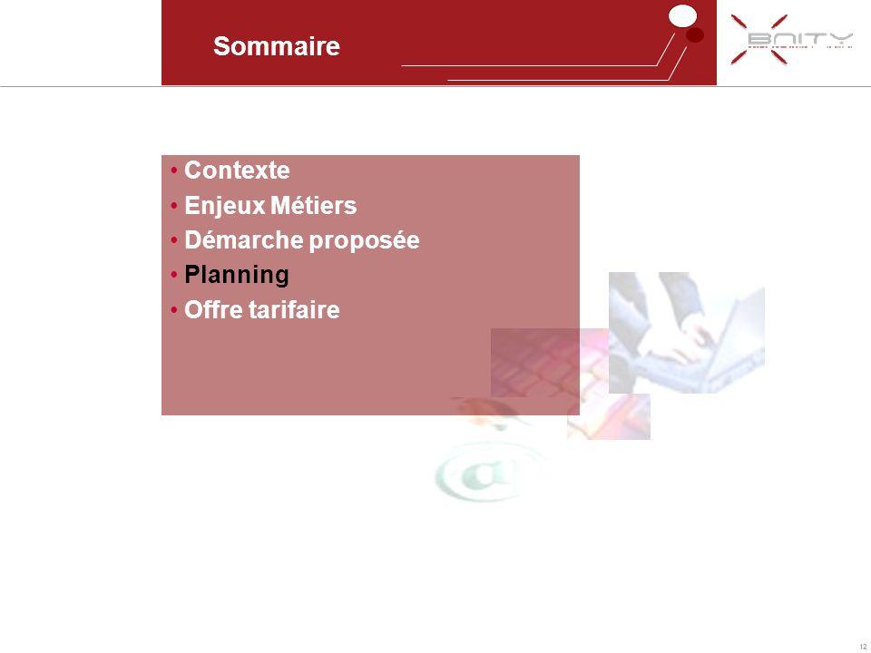 Sommaire Contexte Enjeux Métiers Démarche proposée Planning