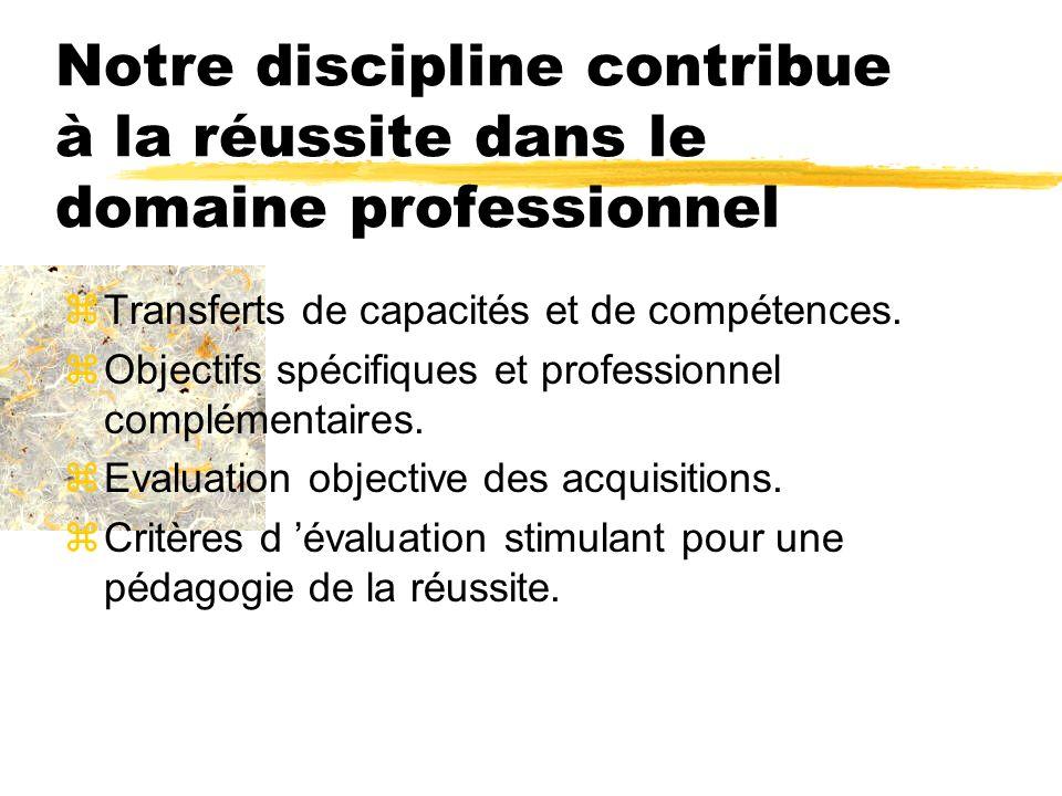Notre discipline contribue à la réussite dans le domaine professionnel