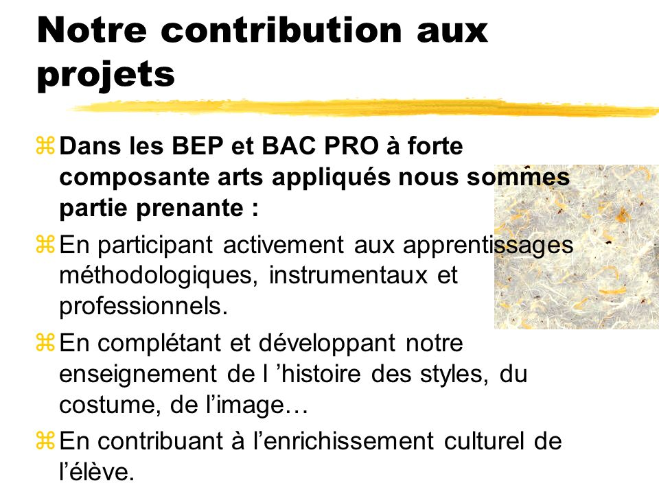 Notre contribution aux projets