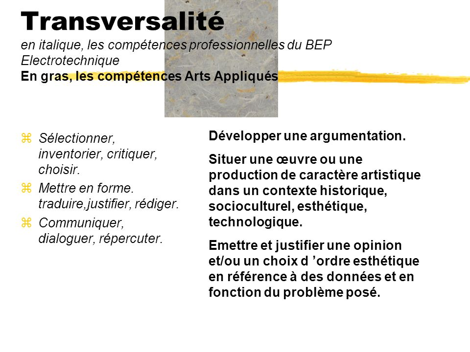 Transversalité en italique, les compétences professionnelles du BEP Electrotechnique En gras, les compétences Arts Appliqués