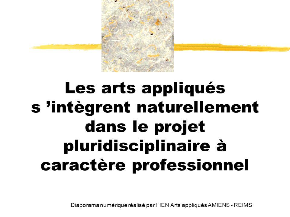 Les arts appliqués s 'intègrent naturellement dans le projet pluridisciplinaire à caractère professionnel