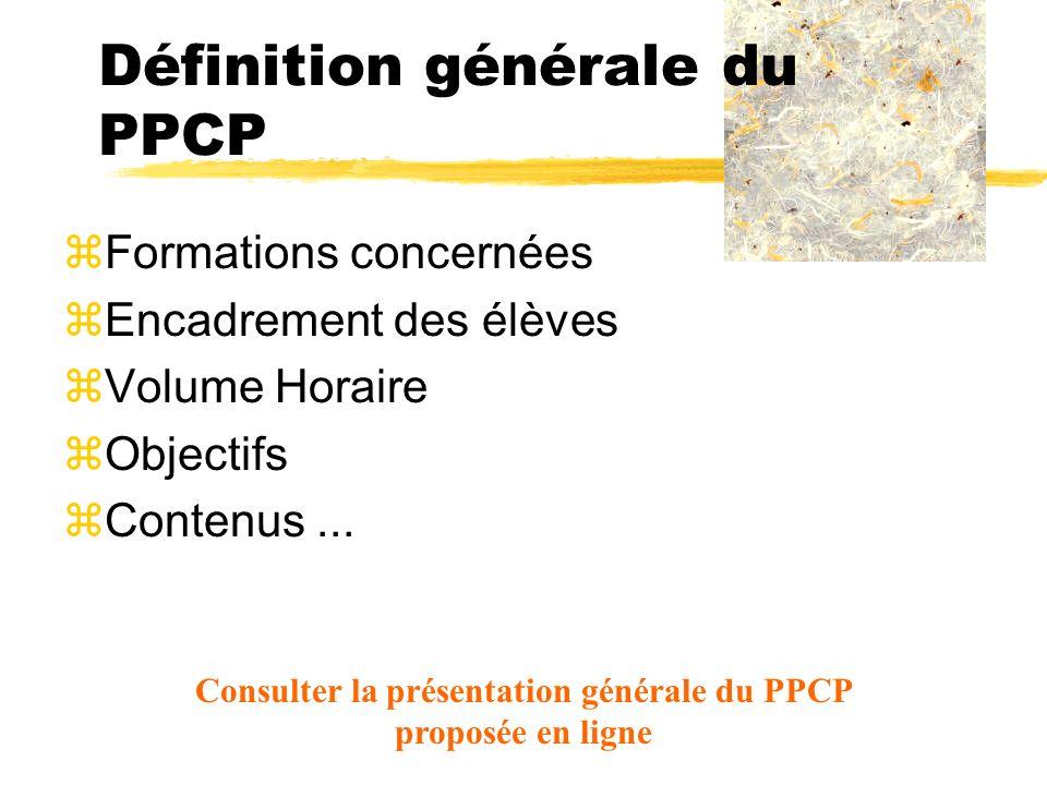 Définition générale du PPCP