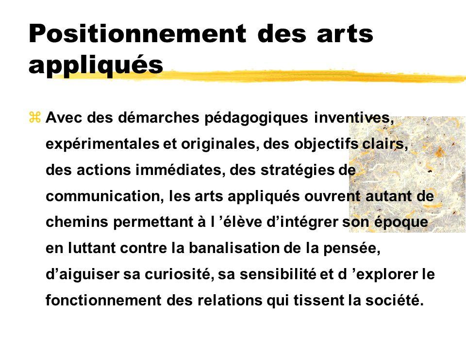 Positionnement des arts appliqués