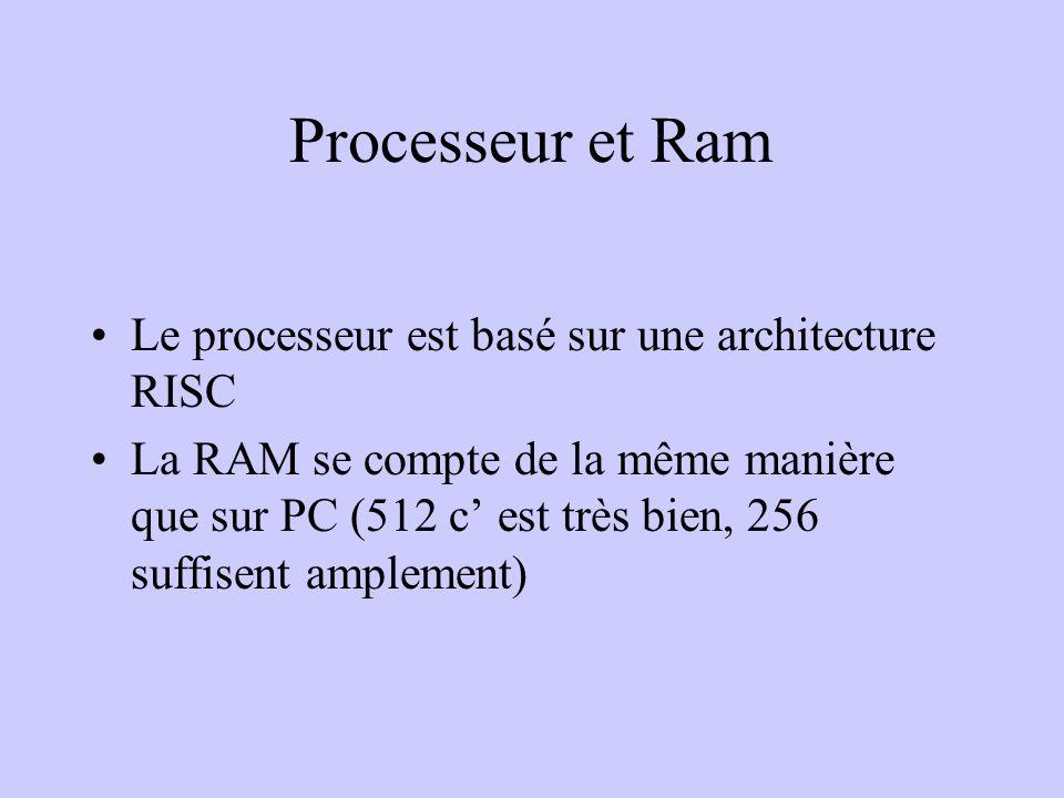 Processeur et Ram Le processeur est basé sur une architecture RISC