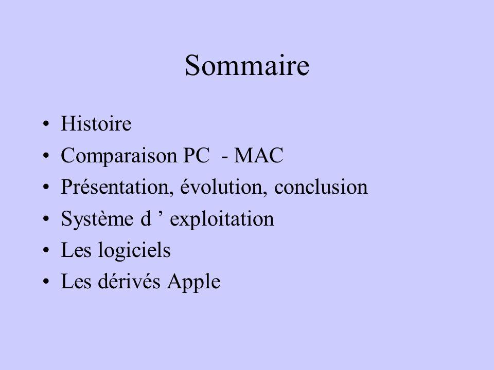 Sommaire Histoire Comparaison PC - MAC