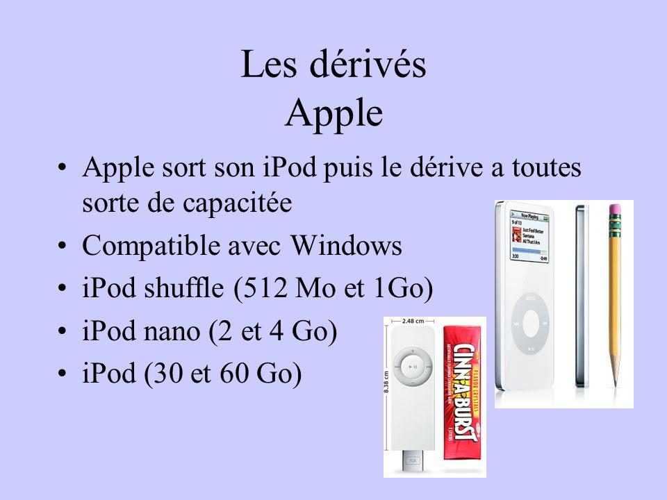 Les dérivés Apple Apple sort son iPod puis le dérive a toutes sorte de capacitée. Compatible avec Windows.