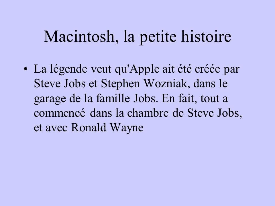 Macintosh, la petite histoire