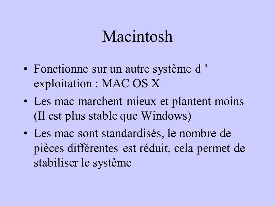 Macintosh Fonctionne sur un autre système d ' exploitation : MAC OS X