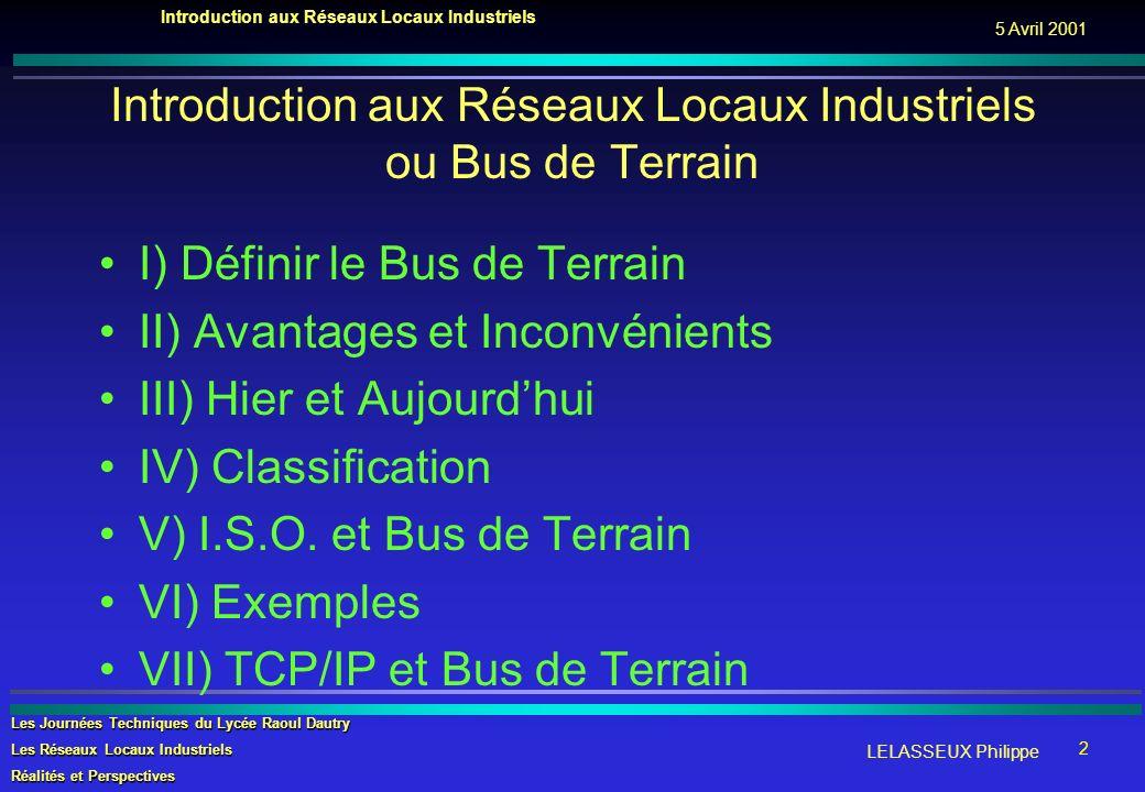 Introduction aux Réseaux Locaux Industriels ou Bus de Terrain
