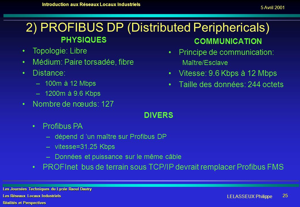 2) PROFIBUS DP (Distributed Periphericals)