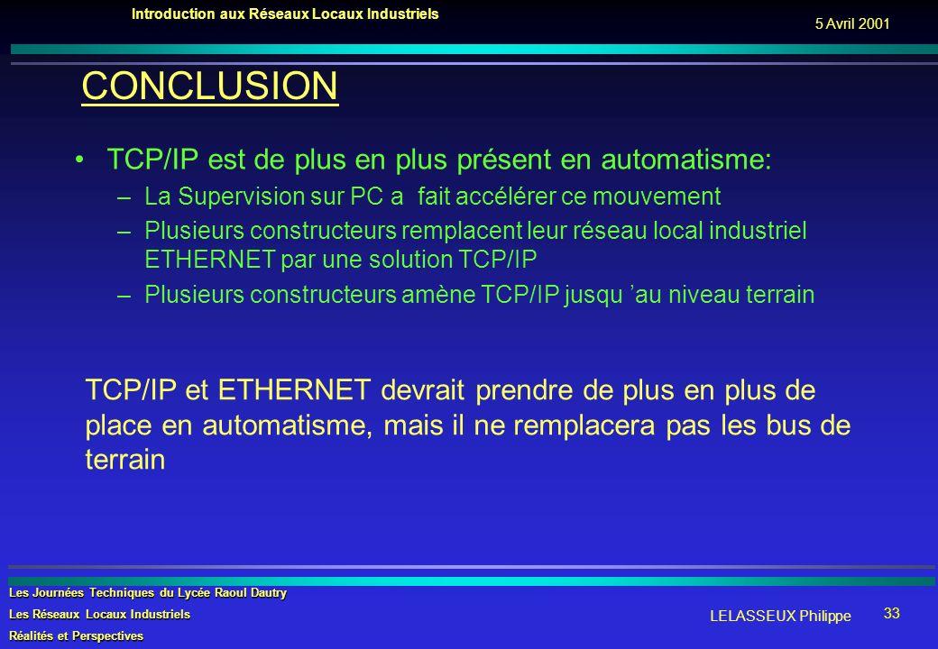 CONCLUSION TCP/IP est de plus en plus présent en automatisme:
