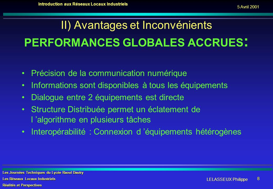 II) Avantages et Inconvénients PERFORMANCES GLOBALES ACCRUES: