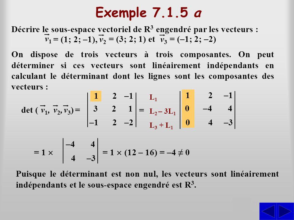 Exemple 7.1.5 a Décrire le sous-espace vectoriel de R3 engendré par les vecteurs : v1. v2. = (1; 2; –1),