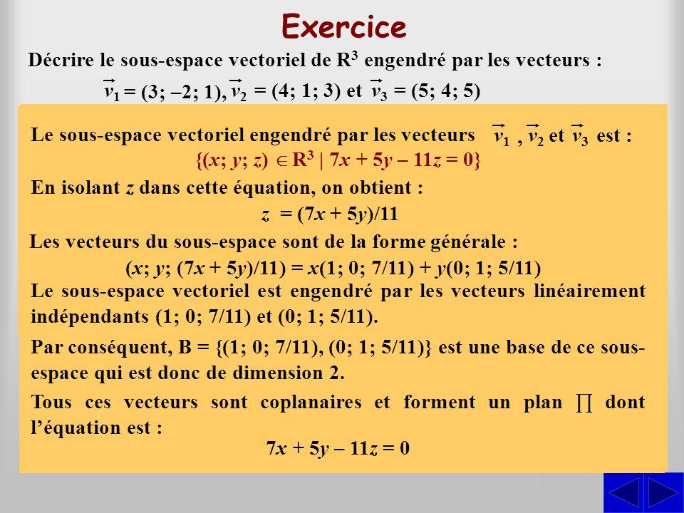 (x; y; (7x + 5y)/11) = x(1; 0; 7/11) + y(0; 1; 5/11)