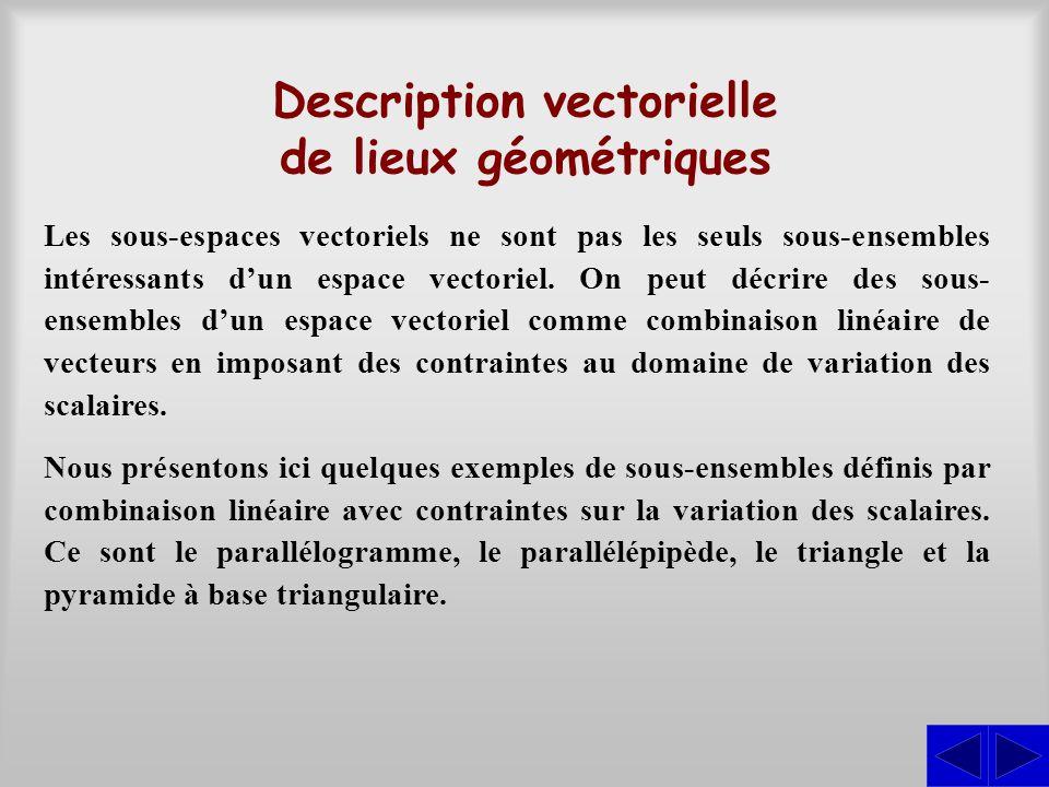 Description vectorielle de lieux géométriques