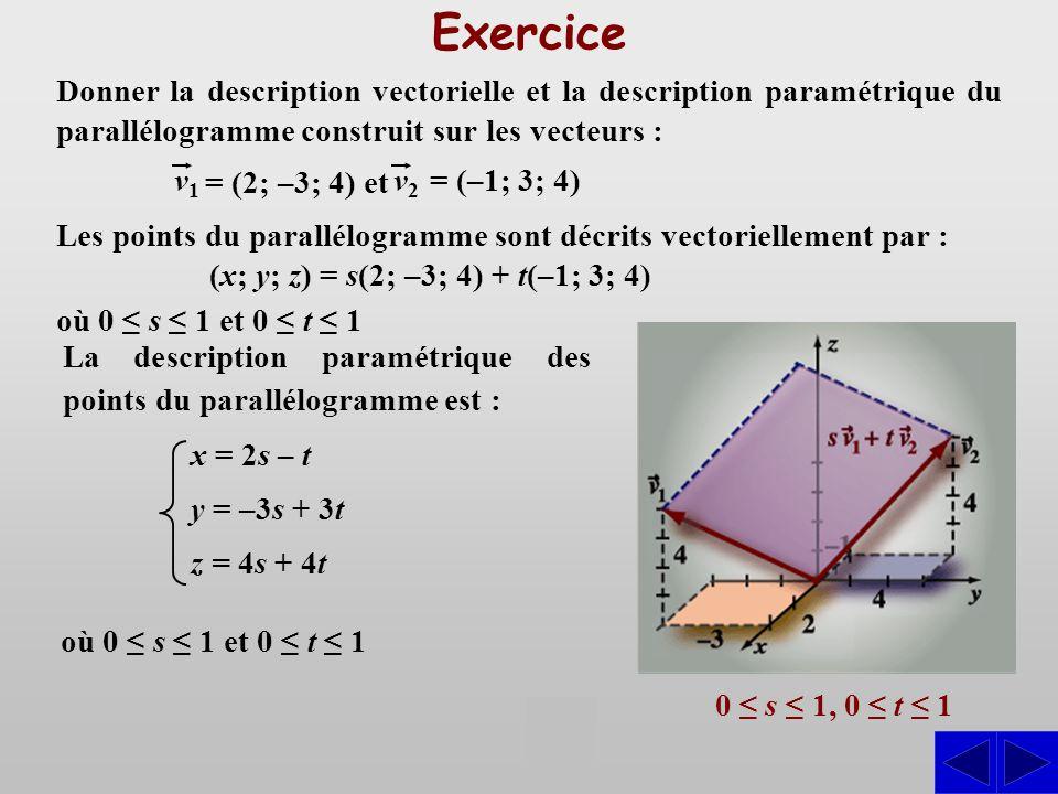Exercice Donner la description vectorielle et la description paramétrique du parallélogramme construit sur les vecteurs :