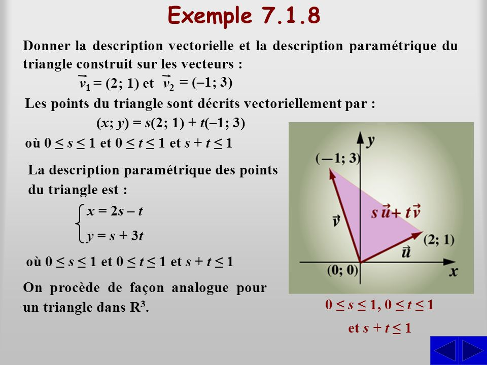 Exemple 7.1.8 Donner la description vectorielle et la description paramétrique du triangle construit sur les vecteurs :