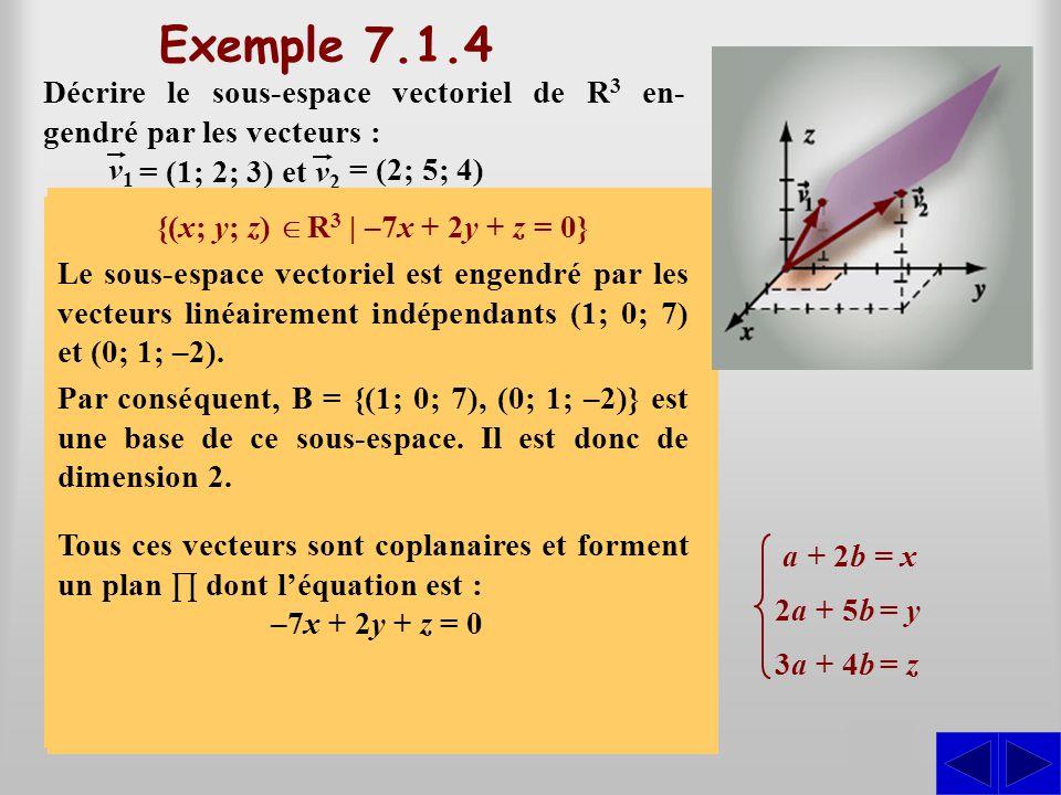 Exemple 7.1.4 Décrire le sous-espace vectoriel de R3 en-gendré par les vecteurs : v1. v2. = (1; 2; 3) et.