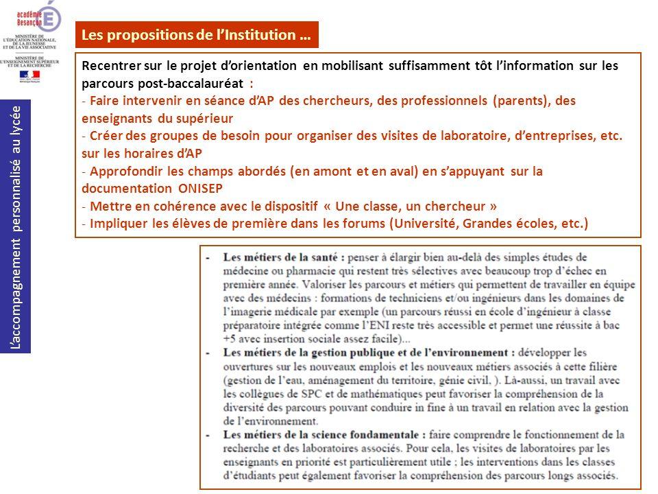 Les propositions de l'Institution …