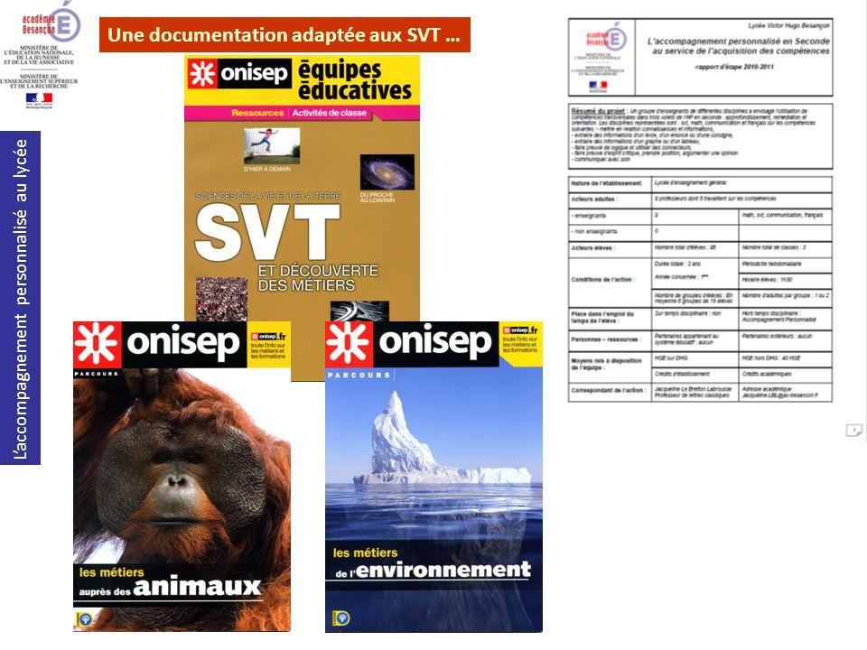 Une documentation adaptée aux SVT …