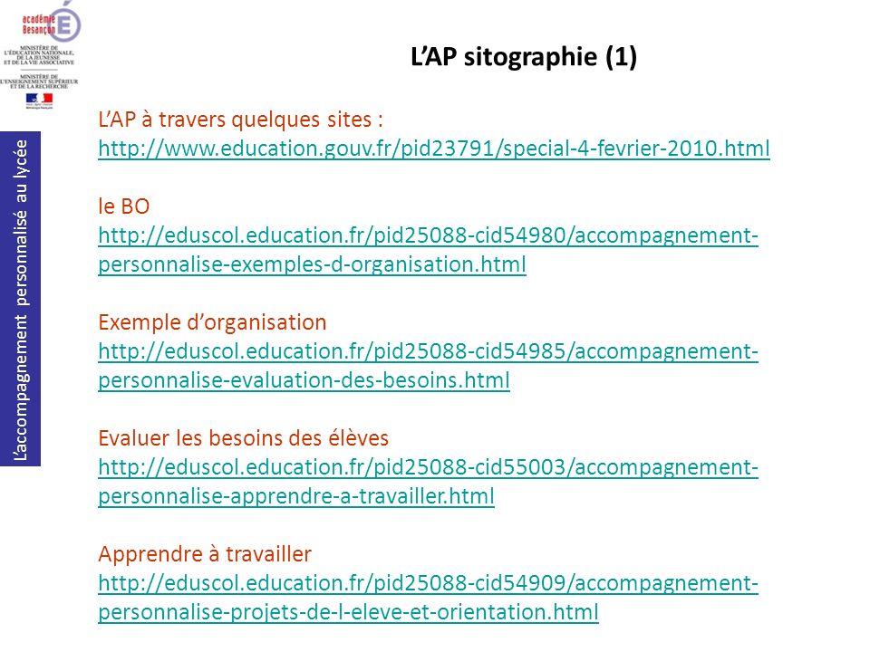 L'AP sitographie (1) L'AP à travers quelques sites :