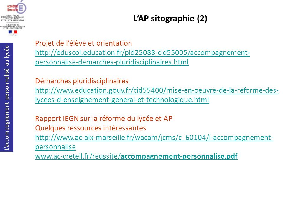 L'AP sitographie (2) Projet de l'élève et orientation