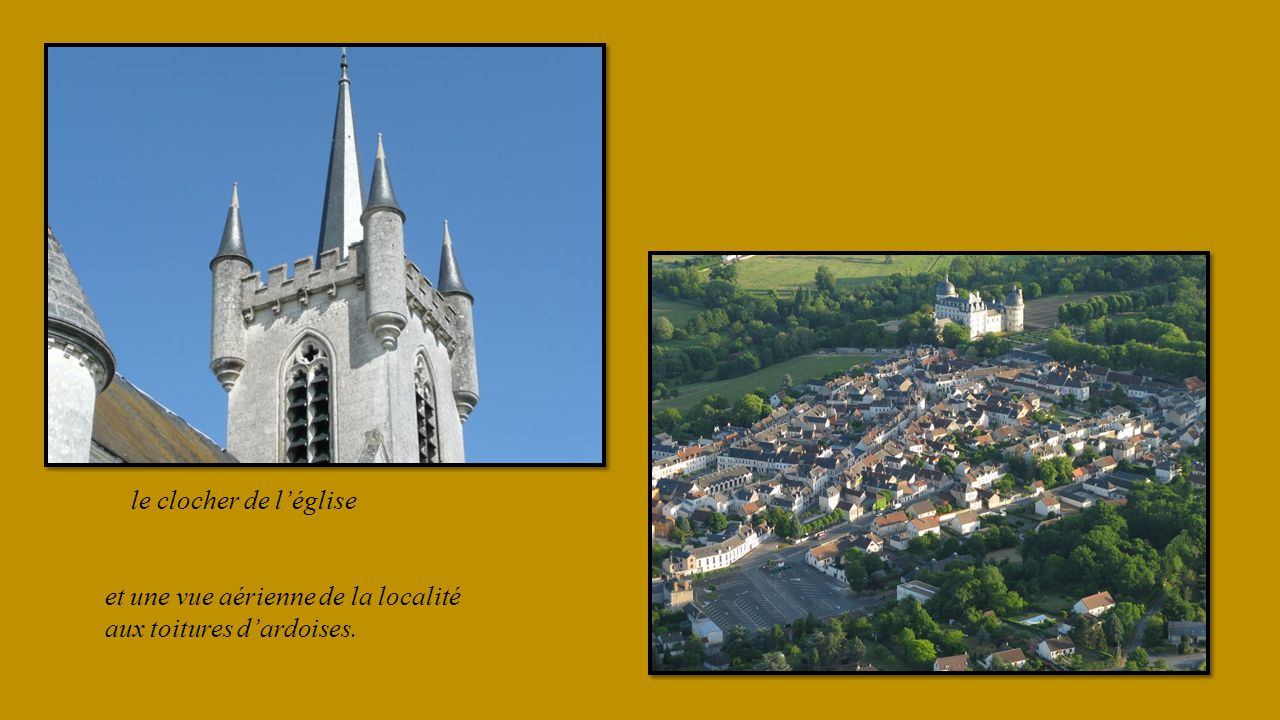 le clocher de l'église et une vue aérienne de la localité aux toitures d'ardoises.
