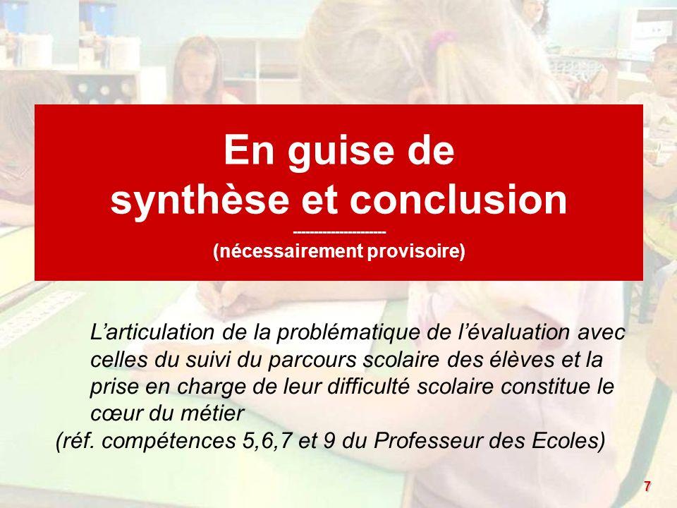 (réf. compétences 5,6,7 et 9 du Professeur des Ecoles)