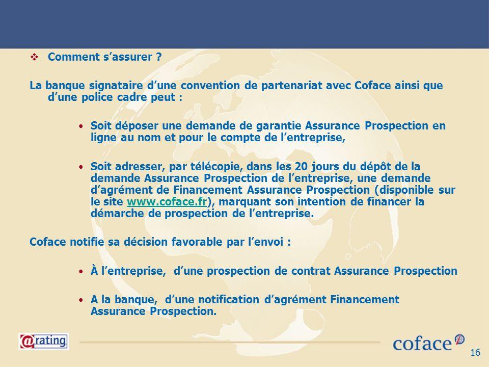 Comment s'assurer La banque signataire d'une convention de partenariat avec Coface ainsi que d'une police cadre peut :