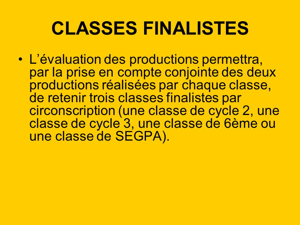 CLASSES FINALISTES