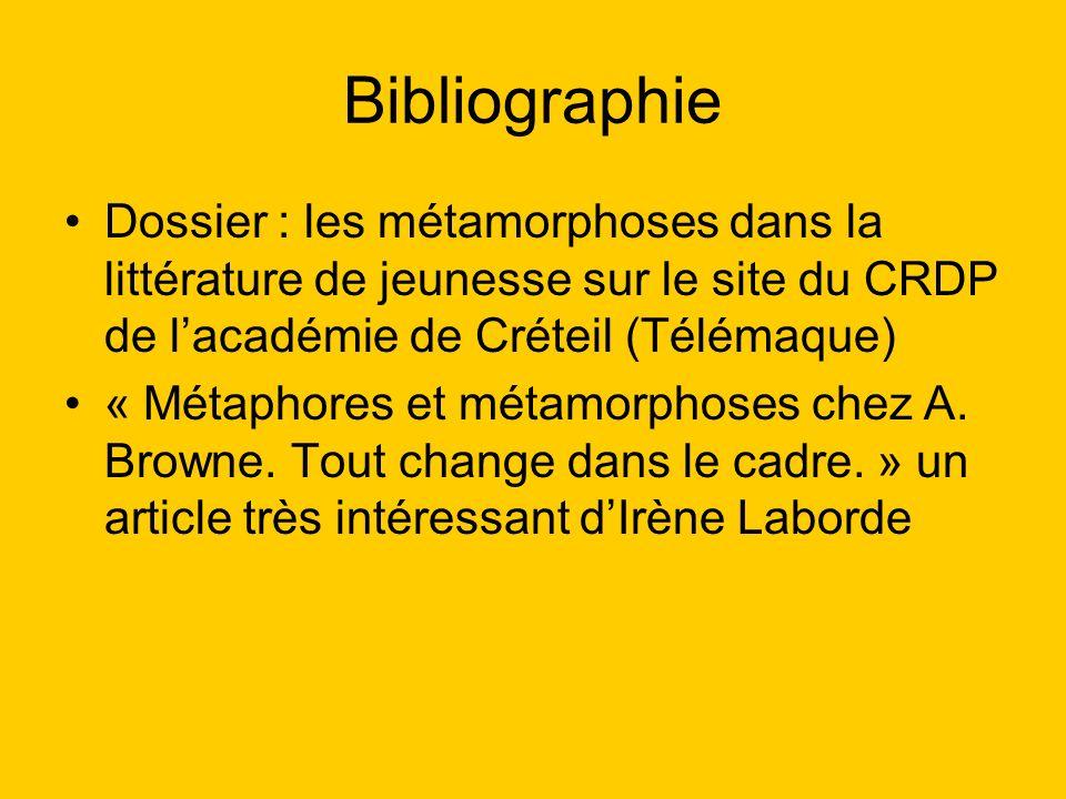 Bibliographie Dossier : les métamorphoses dans la littérature de jeunesse sur le site du CRDP de l'académie de Créteil (Télémaque)